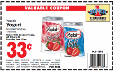 Yoplait Coupons and Printables 1 Yoplait offer is available for you. Clip All. Clipped + SAVE 50¢ ON FIVE Yoplait® when you buy FIVE CUPS any variety Yoplait® Yogurt (Includes Original, Light, Whips!®, OR Lactose Free).