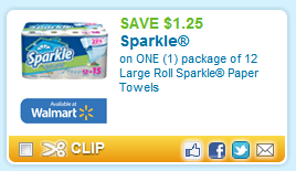 photo regarding Sparkle Coupons Printable referred to as Scorching! Scarce $1.25/1 Sparkle Paper Towels 12 Massive Rolls