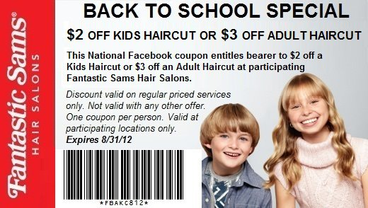 Head on over here to get yourself a coupon good at Fantastic Sams Hair Salons for $2 off a kids haircut or $3 off an adult haircut!