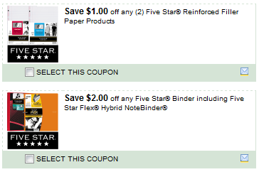 Save $ on any two Five Star Reinforced Filler Paper and new Reinforced Printer Paper products Printable Coupon Save $ on any one Five Star Binder, including Five Star Flex and new Zipper Binder Products Printable Coupon. Staples Matchup! Buy 2 – Five Star 1 subject Notebook Or Poly Cover Composition Books $ Use 1 – Save $ on.