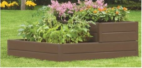 Tiered Resin Raised Garden Bed Kit and Square Foot Gardening Book