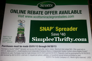 $40 Mail-in Rebate – Scotts SNAP Spreader!!