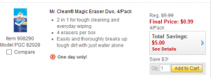 Staples: $0.99 4-pk Mr. Clean Magic Erasers! Today Only with FREE Shipping!