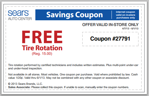 Sears FREE Tire Rotation