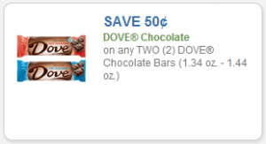 $0.50 off any 2 DOVE Chocolate Bars Printable Coupon