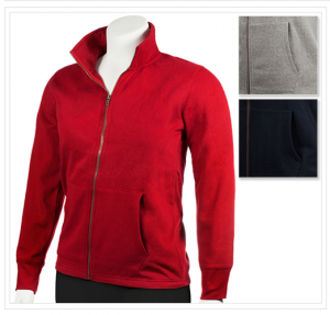 Infinity Sportswear Men's Cotton Fleece-Lined Zip-up Jacket with 2 Pockets in Red, Navy Blue, or Grey for Only $15.99 + FREE Shipping!