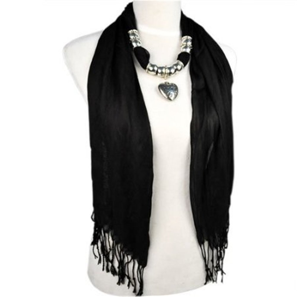 Allydrew heart pendant necklace scarf pendant scarf black only scarf aloadofball Images