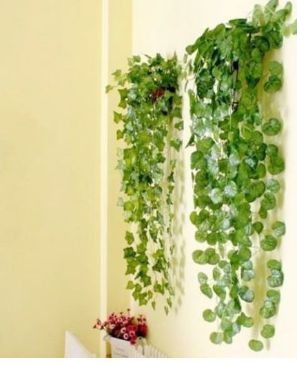 New garden home decor fake plant green ivy leaves vine for Artificial grape vines decoration