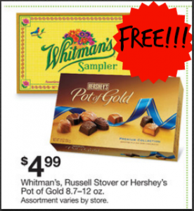 Free Box of Whitman's, Russell Stover, or Hershey's Pot of Gold Chocolate at Kmart!