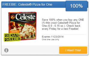 Friday Freebie! Snag a Free Thin Crust Celeste Pizza for One!