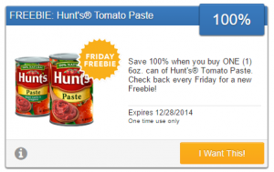 Friday Freebie! Score a Free Can of Hunt's Tomato Paste!