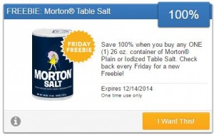 Friday Freebie! Snag a Free Container of Morton Plain or Iodized Table Salt!