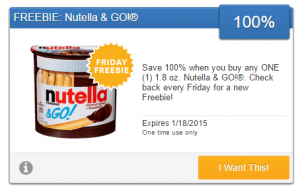Friday Freebie! Pick up a Free Package of Nutella & GO!