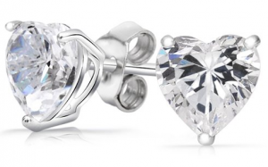 ​2 Ct Swarovski Elements Silver Heart Earrings – $4.99 Shipped!