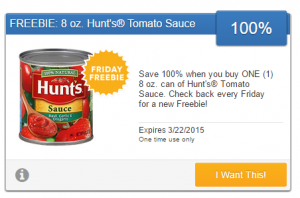 Friday Freebie! Grab a Free 8 oz Can of Hunt's Tomato Sauce!