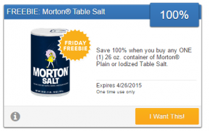 Friday Freebie! Grab a FREE Canister of Morton Iodized or Table Salt!