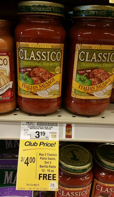 Awesome Deal On Classico Pasta Sauce And Barilla Pasta At Safeway