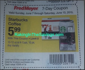 Wow! Looking Ahead: Starbucks Bagged Coffee or K-Cups Only $3.99 Starting 6/7 at Fred Meyer!
