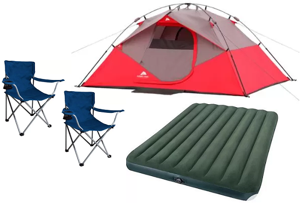 Ozark Trail 4-Person Instant Dome Tent with 2 Folding Chairs and Bonus Queen Airbed  sc 1 st  Raking In the Savings : tent chairs - memphite.com