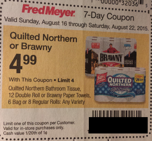 Fred Meyer Shoppers Quilted Northern Bath Tissue Or Brawny Paper Towels Only
