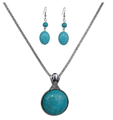 Vintage tibetan silver pretty round turquoise pendant necklace vintage tibetan silver pretty round turquoise pendant necklace earrings jewelry set 396 shipped mozeypictures Image collections