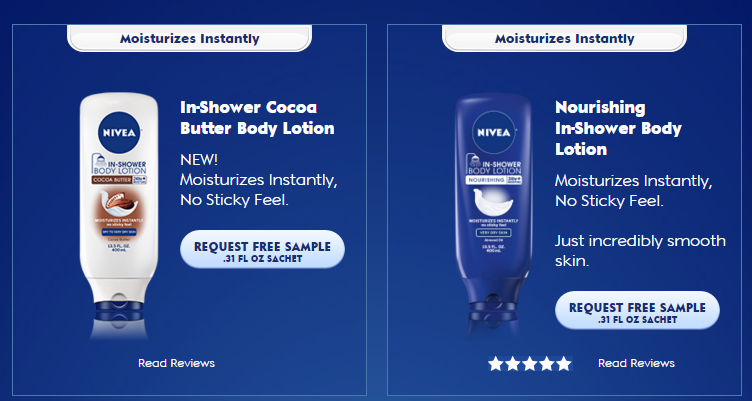 Free sample nivea in-shower body lotion.