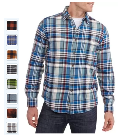 Faded glory men s long sleeve flannel shirt 7 for Mens warm flannel shirts