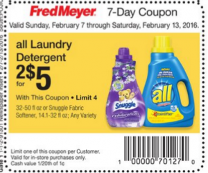 All Laundry Detergent As Low As $1.50 a Bottle at Fred Meyer!