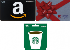 Winner's Choice Gift Card Giveaway! Win a $25 Amazon, Starbucks, or Kmart/Sears Gift Card! (3 Readers Will Win-Winners Choose Which One They Want!)