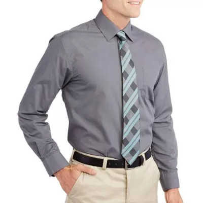 men s solid dress shirt with matching tie 8