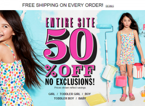 Get 50% OFF The Whole Children's Place + FREE Shipping On All Orders