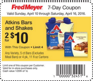 picture regarding Atkins Printable Coupons known as Atkins 5 ct Bars or 4 ct Shakes Only $2.50 at Fred Meyer