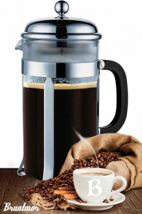 Bruntmor French Press Coffee and Tea Maker with 3 Bonus Filter Screens, 34 oz, Stainless Steel $10.41!
