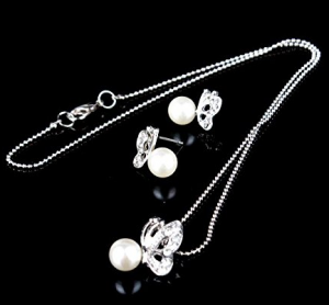 Butterfly Imitated Pearl Earrings and Necklace Jewelry Set $1.98 Shipped!