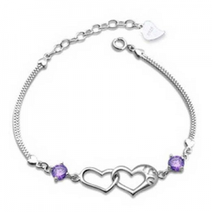 Love Heart Crystal Bangle Bracelet $2.64 + FREE Shipping!