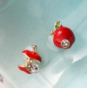 Rhinestone Apple Core Earrings $1.88 Shipped!