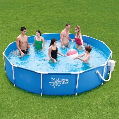 Summer Escapes 12 X 30 Round Metal Frame Above Ground Swimming Pool With Skimmer Plus Filter