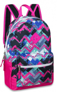 BTS Deal For Your Girls! 17 Inch Chevron Printed Backpack with Front Accessory Pocket Only $6.88!