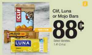 Try a Luna Bar for $.63 at Fred Meyer!