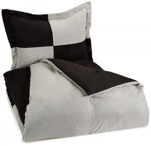 AmazonBasics 2-Piece Two-Tone Microsuede Comforter Set – Twin, Black $12.75!
