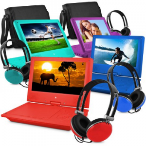 Ematic 9″ Portable DVD Player with Color Headphones and Carrying Bag, Bundle $59.98!
