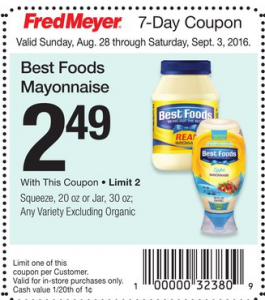 Best Foods Mayonnaise $1.99 at Fred Meyer!