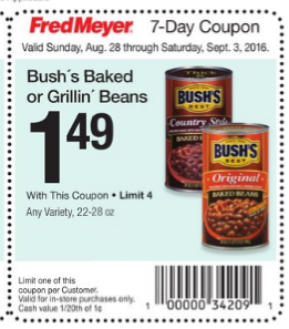 Bush's Grillin' Beans $.99 at Fred Meyer With Coupon Stack!