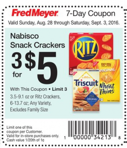 Nabisco Snack Crackers As Low As $1.17 a Box at Fred Meyer!