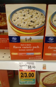 Kroger Instant Oatmeal Packets (8-12 ct) $1.25 at Fred Meyer!