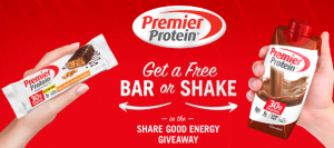New Free Sample! Get a Free Premier Protein Bar or Shake!