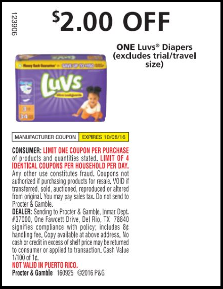 Luvs is a brand of disposable diapers made by Procter & robyeread.ml were sold as