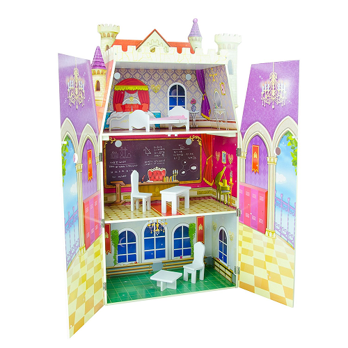 Teamson Kids Fancy Castle Wooden Doll House With 5 Pcs