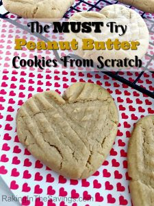 If you love peanut butter, this is a MUST try recipe! It is a recipe for Peanut Butter Cookies From Scratch Made In Heart Shape Form. I am telling you, it is AMAZING!
