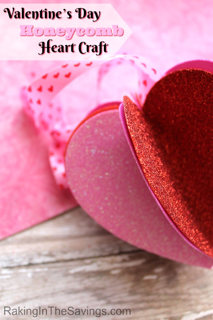 Looking for a craft full of love to do with the kiddos? Check out this easy Valentine's Day Honeycomb Heart Craft!
